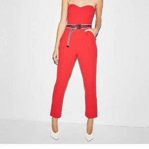 Express strapless red jumpsuit